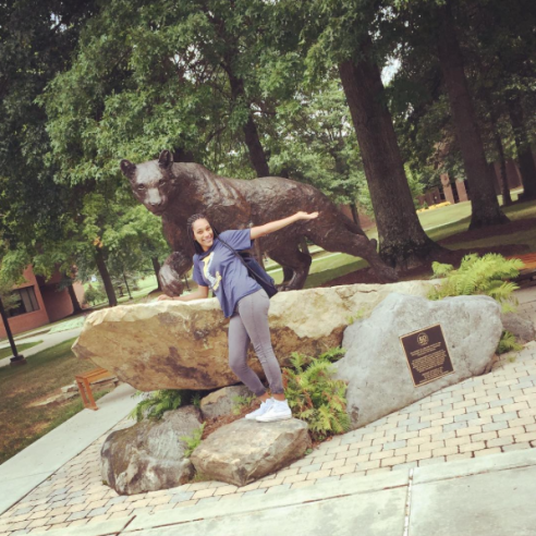 Me in front of the Pitt-Bradford panther.